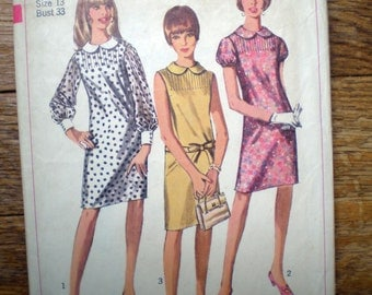 Vintage Simplicity 7008 Peter Pan Collar Pin Tuck Shift Dress Sewing Pattern 33 Inch Bust