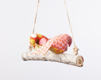 Love Birds - Bird Swing, Bird Mobile in Pinks, Yellows, Greens
