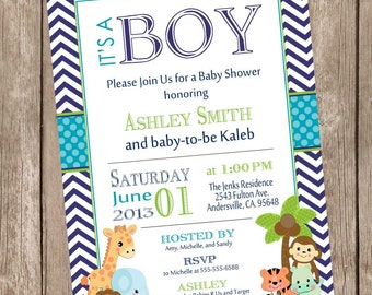 It's a Boy Jungle Baby Shower Invitation, jungle, chevron, teal, navy, safari, typography, printable invitation