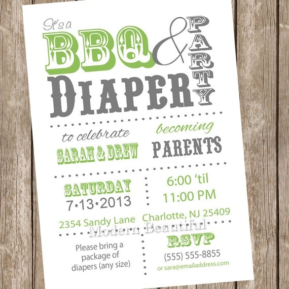 White And Green Couples BBQ And Diaper Baby Shower Invitation, Green, White, Diaper Invitation
