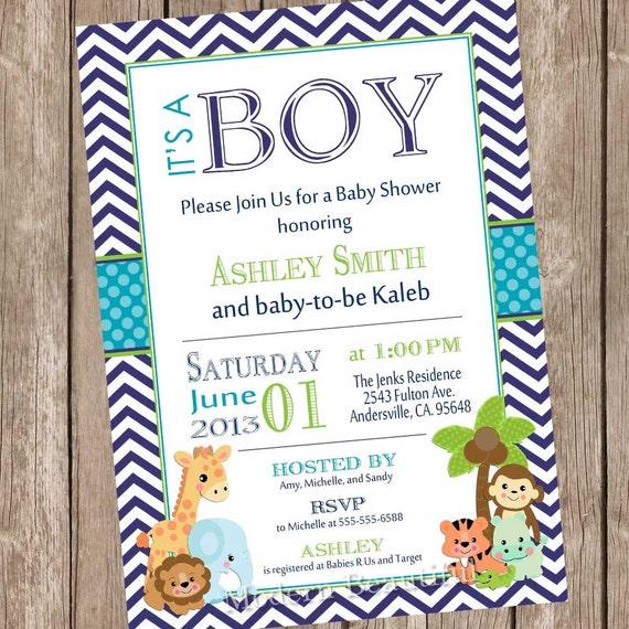 Its a boy jungle baby shower invitation jungle chevron teal il570xn filmwisefo