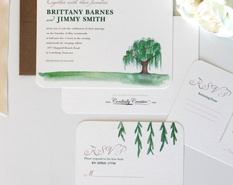 Weeping Willow Wedding Invitation, featuring hand painted tree illustration for spring, summer or outdoor wedding, birthday, party, and more