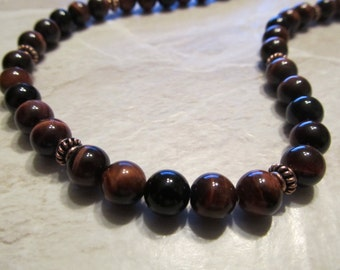 Mens Red Tigers Eye and Black Onyx Necklace in Copper