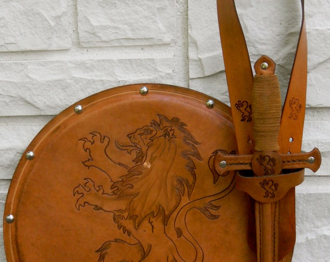DAGGER Set - Dagger, Shield, & sword Belt w/ Lion Emblem - Handmade Leather