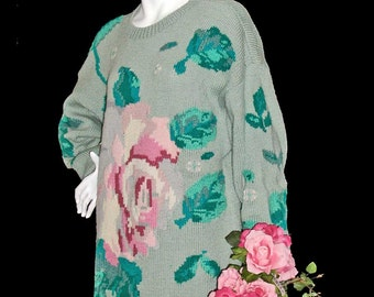 1980s Roberta Frost 100% Wool Intarsia Sweater With Roses Size L