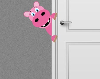 Peeking Hippo Wall Decal Kids  Nursery Decor