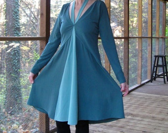 CUSTOM Dress, color block silk panels, V neck, full skirt