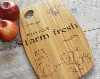 Wood burned Cutting Board   Farm Fresh Design