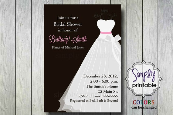 Bridal Shower Invitation with Wedding Dress