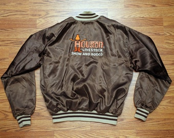 Vintage Satin Baseball Style Jacket Houston Livestock Show And Rodeo Logo