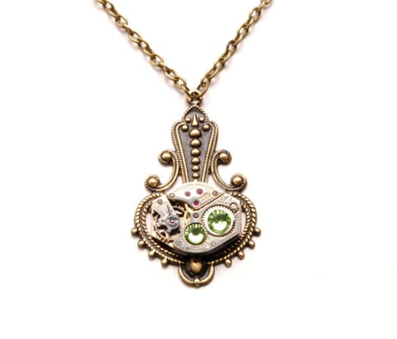 Steampunk Necklace AUGUST PERIDOT Steampunk Watch Necklace Light Green Antique Brass Victorian Steampunk Jewelry by Victorian Curiosities