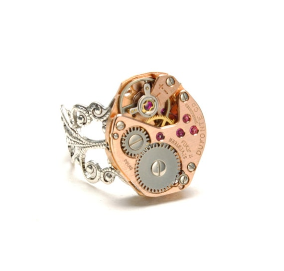 STUNNING Steampunk Ring Steam Punk Ring Vintage Rose Gold Watch Ring Silver Steam Punk Watch Ring Steampunk Jewelry By Victorian Curiosities