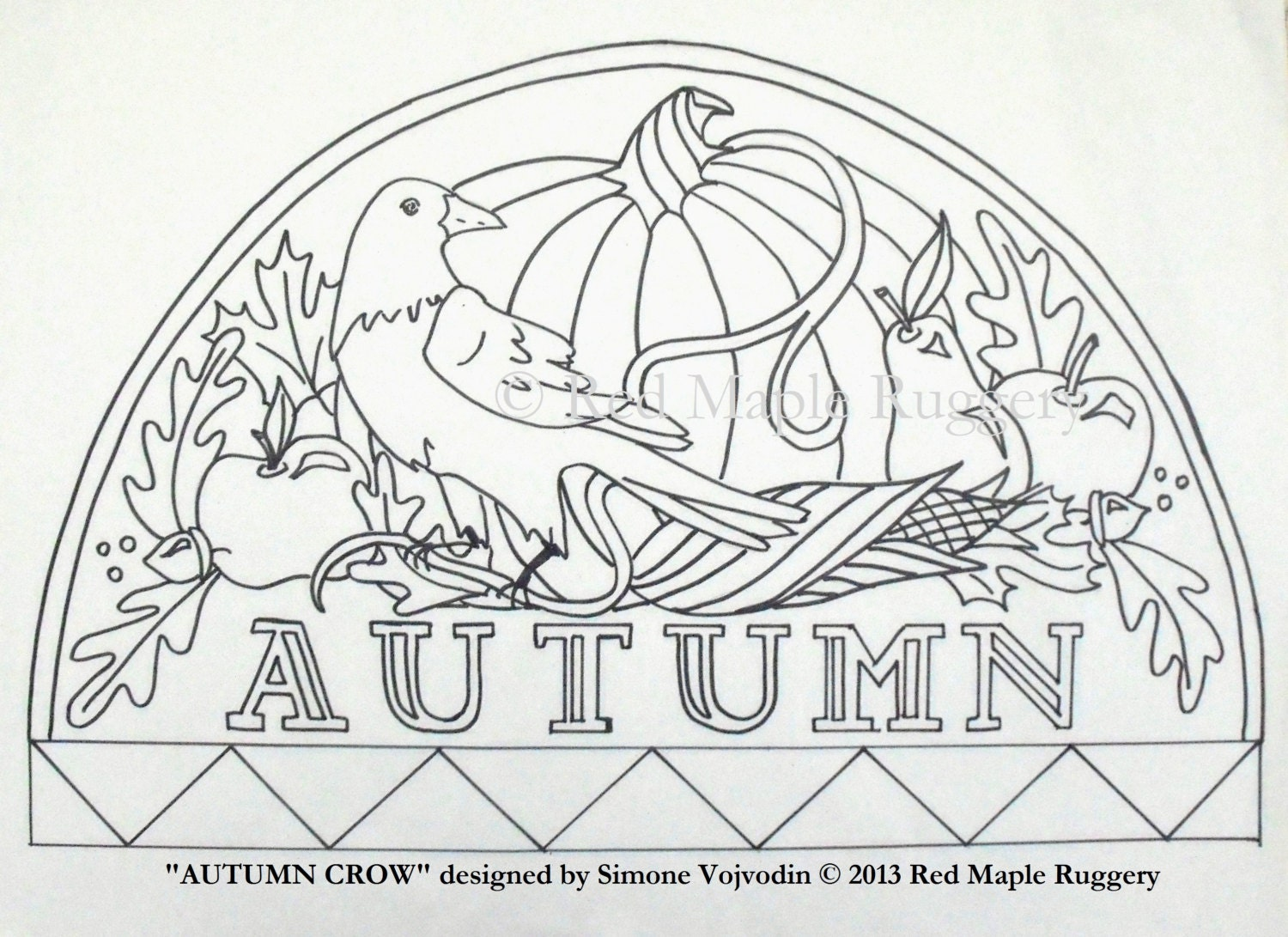Autumn Crow Rug Hooking Punch Needle Pattern On Monks Cloth