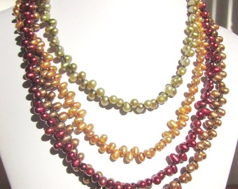 "Fresh Water Pearl Necklace - ""Shades of Fall"" - 4 Strand Top-drilled Fresh Water Pearls, Multi-Strand, Choker, Elegant, OOAK, SRAJD"