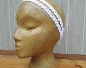 White Cotton Lace Double Strand HEADBAND- Fashion Headband-Lace Headband-Spring Hair Accessory-Spring Headband by The Accessories Nook