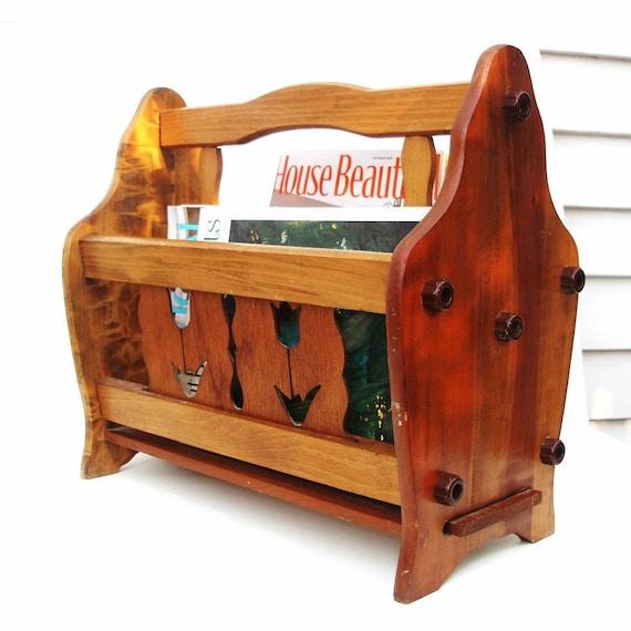 Vintage wooden magazine rack wood holder mid century