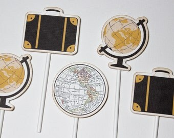 Vintage Travel - Destination Cupcake Toppers