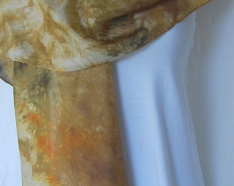 Hand Dyed Silk Shawl Scarf -  shades of rich gold and bits of green - Silk hand painted silk Batik Style