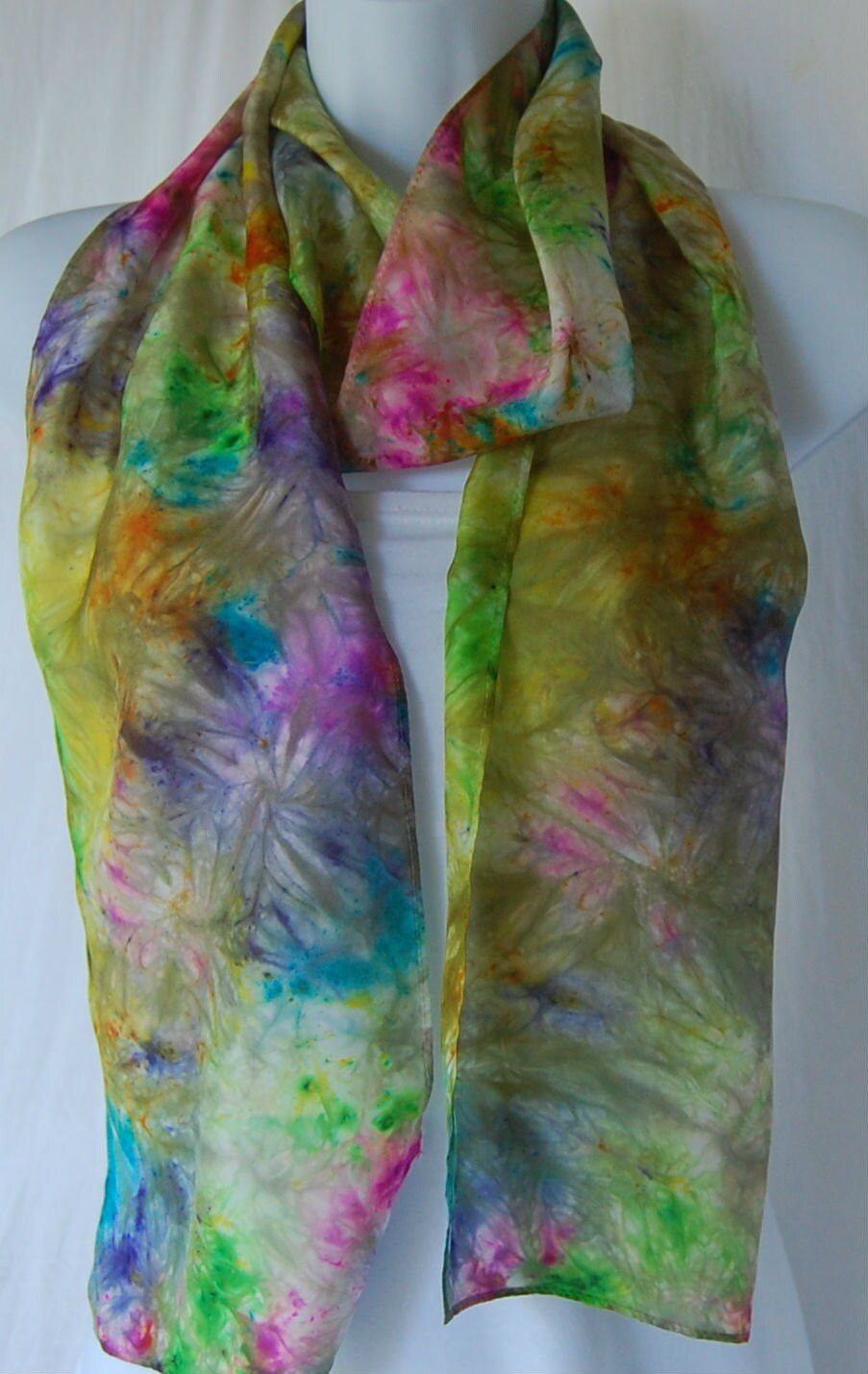dyed silk scarf rainbow colors silk painted