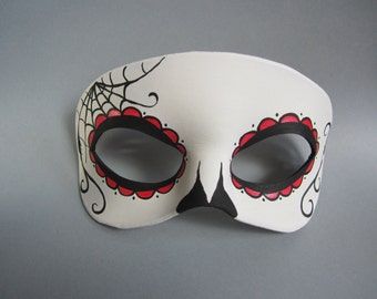 Red Day of the Dead Side Spiderweb Leather Mask
