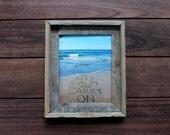 Keep Calm and Carry On Sand Writing