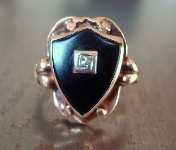 Vintage Black Onyx and Diamond Rose Gold Ring in Shape of a Shield - Antique 1920s Onyx Diamond Ring - Unique Engagement Ring - Statement
