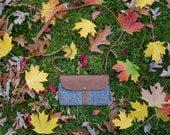 The Shelburne Purse in Hemp Chambray with Bark Tan Waxed Canvas and Whiskey Tan Leather