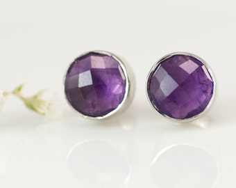 Purple Amethyst Gemstone Studs, February Birthstone Earrings, 925 Silver Natural Stone Stud Earrings, Gift Ideas for Mom, Post Earrings