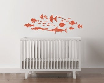 "Fish Vinyl Nursery Wall Decal. School of 26 fishies nursery decor playroom ranging in size from 1 "" to 12""."