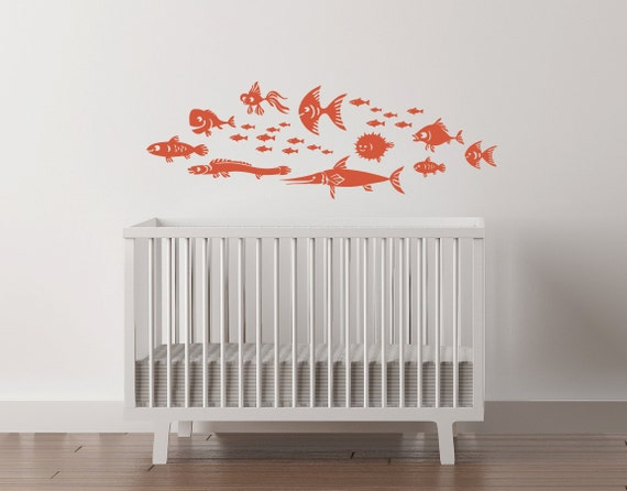 """Fish Vinyl Nursery Wall Decal. School of 26 fishies nursery decor playroom ranging in size from 1 """" to 12""""."""
