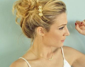Gold Hair Comb - Bridal Hair Accessories - Bridal Hair Comb - Wedding Hair Accessories - Flower Hair Comb - Rhinestone Hair Comb