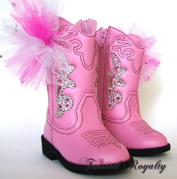 Toddler Swarovski Crystal Pink Cowboy Boots sz5 Toddler Flower