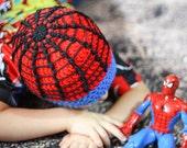 Crochet Spiderman Beanie - Spider Super Hero Hat - Spidey Hat - Kids Winter Cap - Adult Sizes