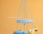 Jungle baby mobile - blue - made to order only