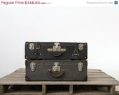 SALE Vintage Black Luggage / 1930s Hardboard Suitcase - 86home