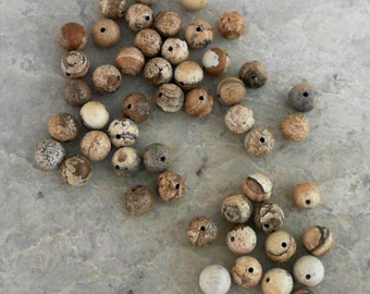 Natural Picture Jasper 8mm Round Gemstones                CC-80421
