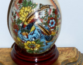 Vintage cloisonne Asian ceramic egg with moriage flowers and birds