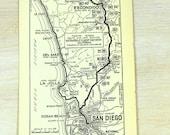 Vintage 1933 Strip Map Los Angeles San Diego La Jolla Escondido Oceanside FallBrook Del Mar Ocean Beach Automobile Roads Route California