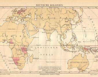 1890 German Colonies Worldwide Original Antique Map