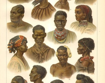 1902 African People II. Original Antique Chromolithograph to Frame