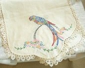 SALE Embroidered Linen Table Runner - Parrot and Flower motif