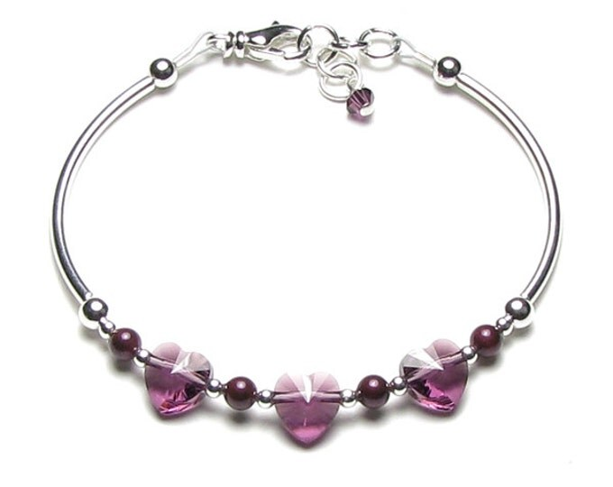 Amethyst Heart Swarovski Crystal Blackberry Pearl Silver Beaded Bracelet Romantic Purple February Birthstone Birthday Gift for Women or Teen