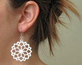 White Flowers Earrings , Acrylic Jewelry , large earrings , Geometric Jewelry , Laser Cut Jewelry , Acrylic Jewelry , prom jewelry