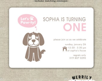 Let's Paw-ty Puppy Themed Birthday Party Invitations