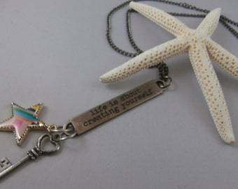 Silver star, key, and stamped Charm Necklace