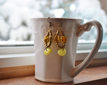 Sunny Yellow and Gold Earrings