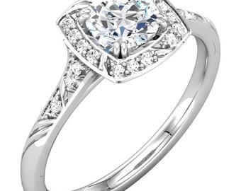 1.0  ct Forever Brilliant Moissanite Solid 14K White Gold Diamond Sculptural-Inspired Engagement Ring - ST232071