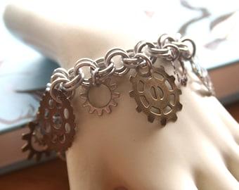 Steampunk Gears Charm Bracelet
