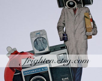 Vintage Camera Art One of a Kind Paper Collage, Photographer Gift