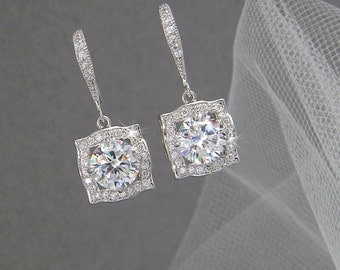 Bridal Earrings, Square Crystal wedding earrings Rhinestone  Bridesmaids, Adrienne Bridal Earrings